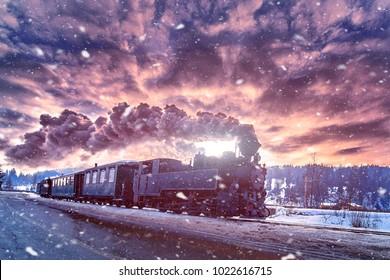 ブコヴィナからの蒸気機関車、モカニータは冬に旅行します