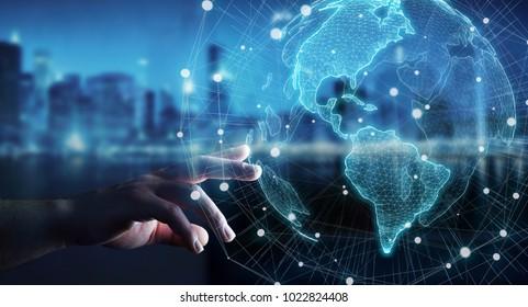 Geschäftsfrau auf unscharfem Hintergrund unter Verwendung des 3D-Renderings der USA-Weltkartenschnittstelle