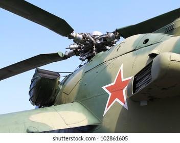 "Rode ster op Sovjet / Russische Mi-26 ""Hind"" aanvalshelikopter romp"