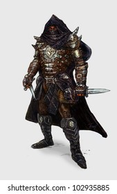 Thief master Armored fantasy Master thief with two daggers