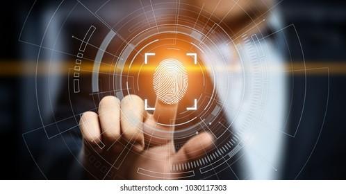 Der Fingerabdruck-Scan bietet Sicherheitszugriff mit biometrischer Identifizierung. Business Technology Safety Internet-Konzept.