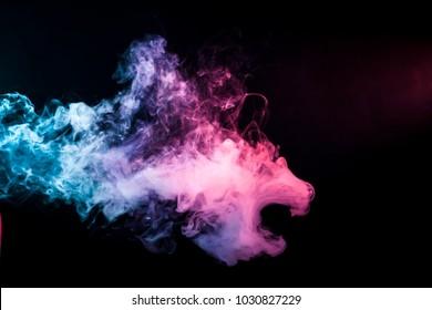 Rauch in Form eines Löwen. Hintergrund aus dem bunten Rauch des Dampfes