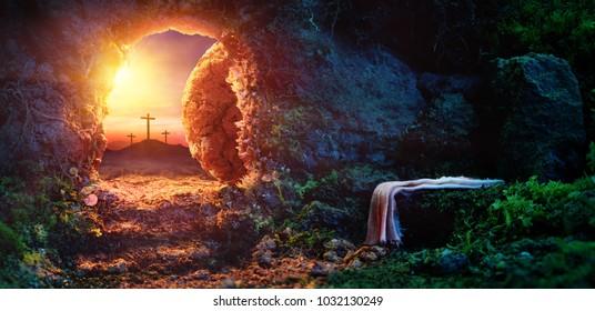 日の出のはりつけ-シュラウド付きの空の墓-イエス・キリストの復活