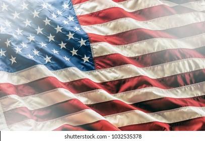 Amerikanische Flagge der Nahaufnahme, Studioaufnahme.