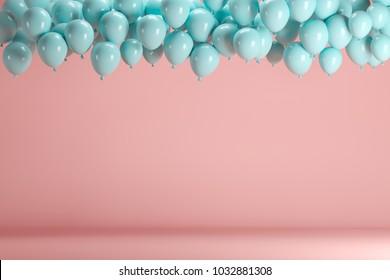 ピンクのパステルカラーの背景の部屋のスタジオに浮かぶ青い風船。最小限のアイデアの創造的な概念。