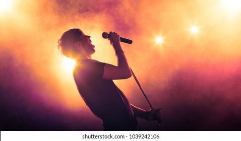 マイクスタンドを持ってステージで演奏する歌手