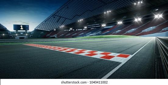 Internationale Rennstrecke für Asphalt in der Abendszene mit Start- oder Endlinie, Hintergrund für die digitale Bildwiederherstellung.