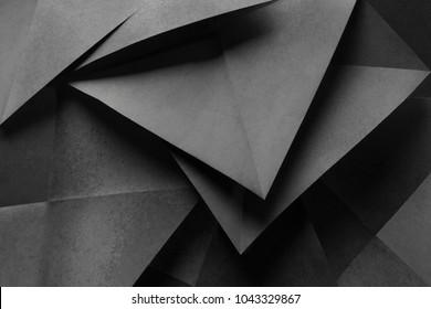 Makrobild des in geometrischen Formen gefalteten Papiers, dreidimensionaler Effekt, abstrakter Hintergrund