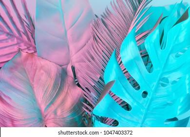 Tropische und Palmblätter in lebendigen holographischen Farbverläufen. Konzeptkunst. Minimaler Surrealismus.