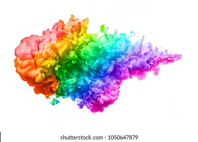 Tinte im Wasser lokalisiert auf weißem Hintergrund. Regenbogen der Farben. Farbexplosion