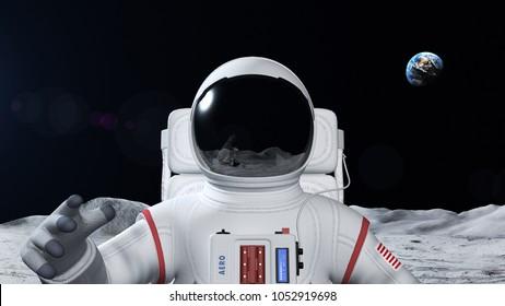 月面の宇宙飛行士。地球が背景に見えます。ロゴと旗のスーツを作りました!
