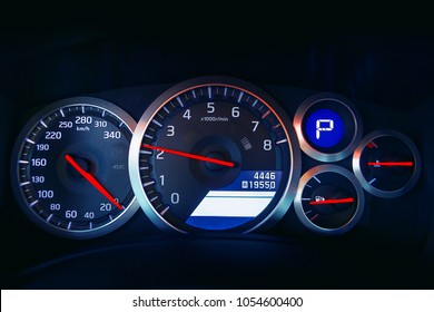 Sport car dashboard with illumination
