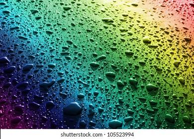 金属表面に水滴。抽象的な背景