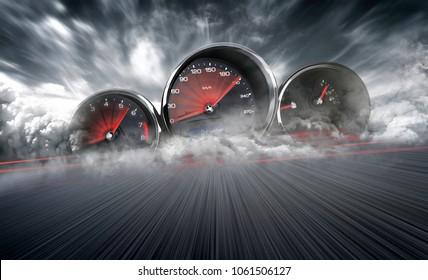 Tachometer mit hoher Geschwindigkeit in einem Rennstreckenhintergrund mit Zeitrafferunschärfe. Beschleunigendes Auto-Hintergrund-Fotokonzept.