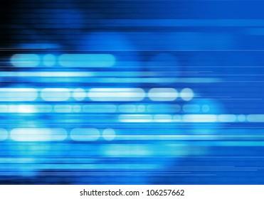 digital erzeugtes Bild von blauem Licht und Streifen, die sich schnell über schwarzen Hintergrund bewegen