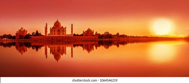 Panoramic view of Taj Mahal during sunset reflected in  Yamuna river, in Agra , Uttar Pradesh, India