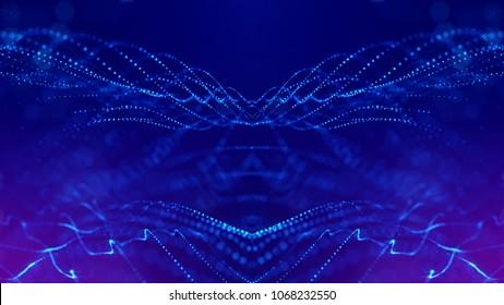 Science-Fiction-Hintergrund von leuchtenden Partikeln mit Schärfentiefe und Bokeh. Partikel bilden Linien- und abstrakte Oberflächengitter. 3D-Rendering V31 blau