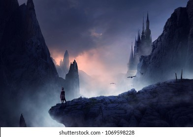 warrior or man standing on fantasy hill