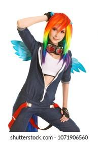 beautiful slim teenage girl in pegasus costume