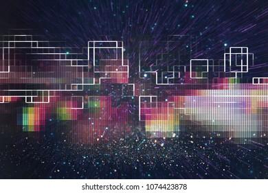 Fondo retro futurista del estilo retro de los años 80. Superficie digital o cibernética. luces de neón y patrón geométrico