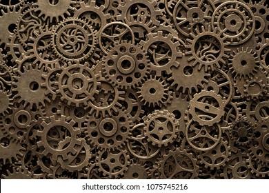 Ruedas dentadas de latón, fondo steampunk, textura con espacio de copia