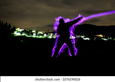 man attack with an energy wave. anime concept
