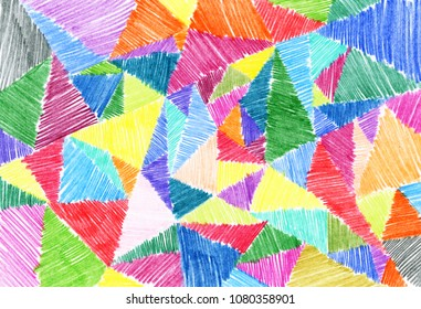 triangles painted with colored pencils background