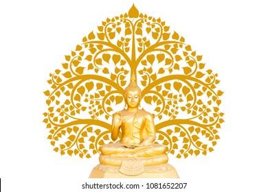Estatua de Buda en el fondo del árbol de Bodhi, el día importante del concepto budista
