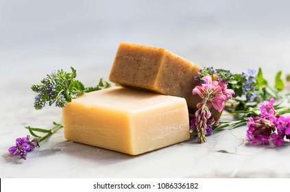 Jabones naturales hechos a mano con flores, jabón orgánico spa