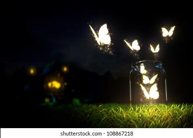 magischer Schmetterling vom Glas abheben