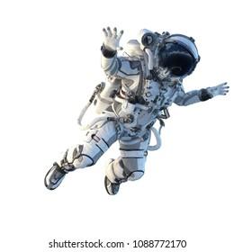 Astronaut auf Weiß. Gemischte Medien