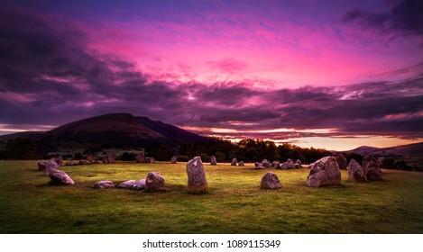 Castlerigg Stone Circle near Keswick, Cumbria, England. Bronze age stone circle taken just before sunrise, Blencathra mountain in the background.