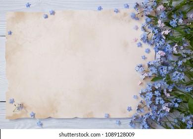 Ein Strauß Vergissmeinnicht und Glückwunschpapier, Briefe
