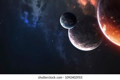 Weltraumplaneten, fantastische Science-Fiction-Tapeten, kosmische Landschaft. Elemente dieses Bildes von der NASA eingerichtet