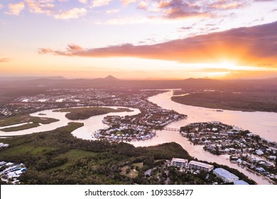 Sunset over the Noosa River and Mt Coolum, Noosa Heads, Sunshine Coast, Queensland, Australia