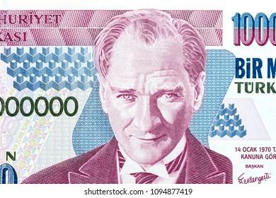 Nahaufnahme der alten Banknote. 1.000.000 TL wurden zu Ehren von Mustafa Kemal Atatürk ausgegeben, der die türkische Republik gründete