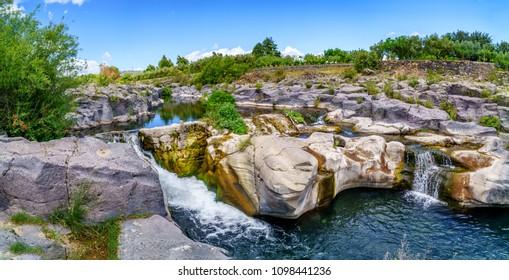 Alcantara Gorge and Alcantara river park in Sicily Island, Italy
