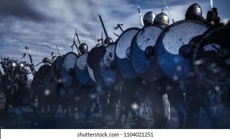 Plano del Ejército Avanzado de Guerreros Vikingos. Recreación medieval.