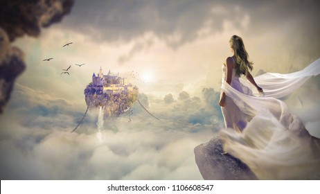 Angel in fantasy city