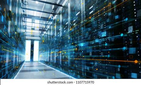 Plano de un centro de datos en funcionamiento con filas de servidores en rack conectados con líneas de visualización de conexión Ethernet.