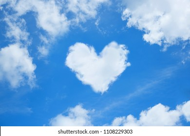 A cloud in the form of a heart. A figure from the clouds in the sky. Beautiful sky. Love. Imagination. Valentine's Day. Lovers. Fluffy cumulus cloud looks like a heart. Valentine's day symbol.