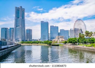 Cityscape of Yokohama MinatoMirai in Yokohama City, Kanagawa Prefecture, Japan. Yokohama MinatoMirai is an area facing Yokohama Port.