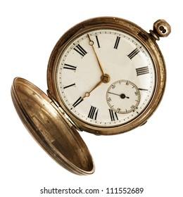 古い懐中時計、開いた、白い背景で隔離。