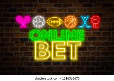 Apuesta en línea de letrero de neón, símbolos deportivos, fútbol, fútbol americano, baloncesto, tenis, boxeo, hockey con el telón de fondo de una pared de ladrillos. Concepto de apuestas deportivas online.
