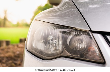 dirty headlights car , honda civic headlamps