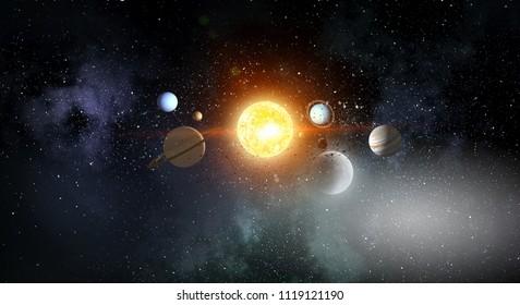 System der Planeten. Gemischte Medien