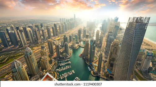 View on Dubai Marina skyscrapers and the most luxury superyacht marina,Dubai,United Arab Emirates