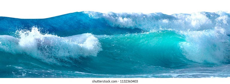 Beautiful sea waves with foam of blue and turquoise color isolated on white background