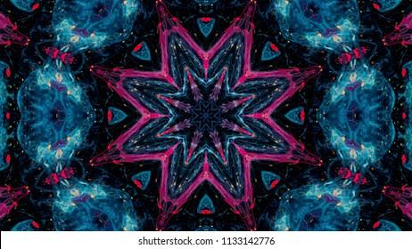 抽象的な万華鏡の背景。美しい多色万華鏡の質感。ユニークな万華鏡のデザイン。