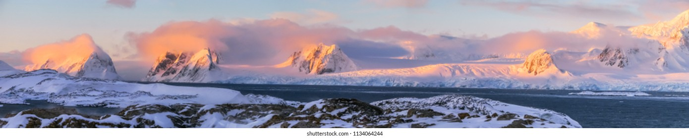 Color gradient during the sunset in Antarctica. Vernadsky Station. Antarctic Peninsula 2008.